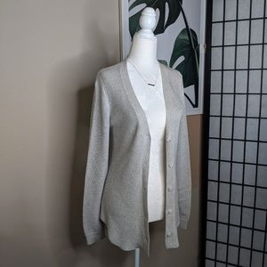 Cabi Shirttail Cardigan Button Front Gray Deep V